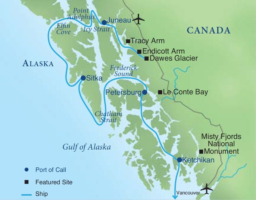 tracy arm fjord alaska map Alaska S Glaciers The Inside Passage Smithsonian Journeys
