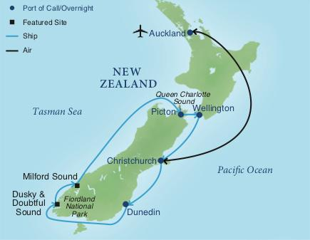 Printable Map Of South Island New Zealand.New Zealand By Sea Smithsonian Journeys
