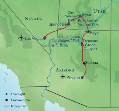 Map Of Arizona And Grand Canyon.Bryce Zion And The Grand Canyon Smithsonian Journeys