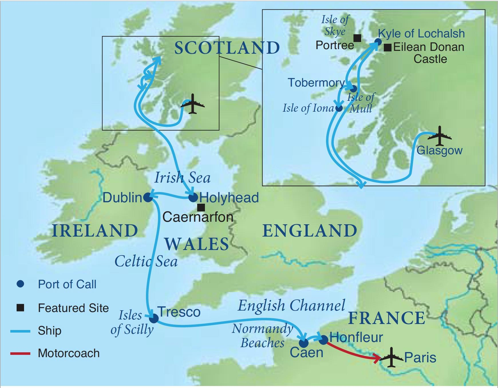 Map Of France England And Scotland.A Celtic Cruise Smithsonian Journeys