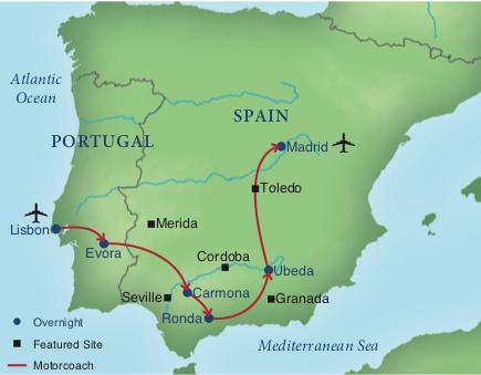 Map South Of Spain.Treasures Of Southern Spain Portugal Smithsonian Journeys