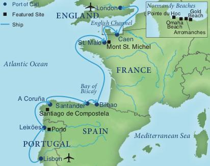 Map Of England France And Spain.A Cruise From Lisbon To London Smithsonian Journeys
