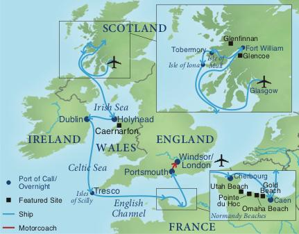 Map Of France And Scotland.A Celtic Cruise Smithsonian Journeys