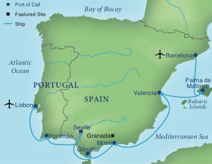 Map Of Spain Oceans.A Cruise Of Spain Portugal Smithsonian Journeys
