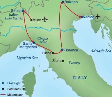 North Of Italy Map.Northern Italy Smithsonian Journeys