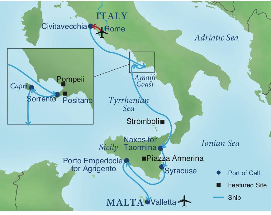 Sicily On Map Of Italy.Voyage From Rome To Malta Smithsonian Journeys
