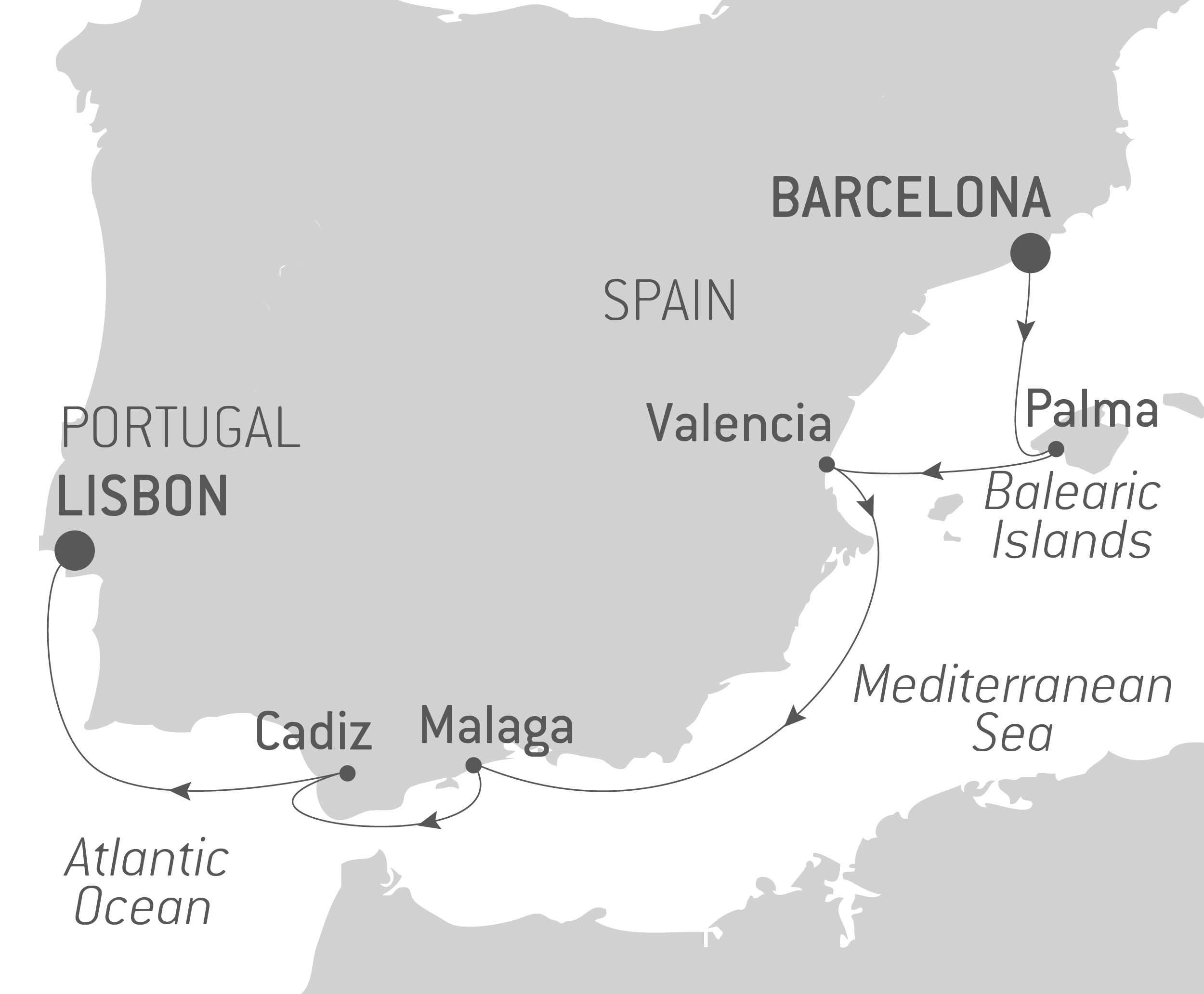 Map - Cruising Southern Spain and Portugal