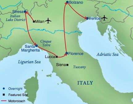 Northern italy smithsonian journeys tour map gumiabroncs Image collections